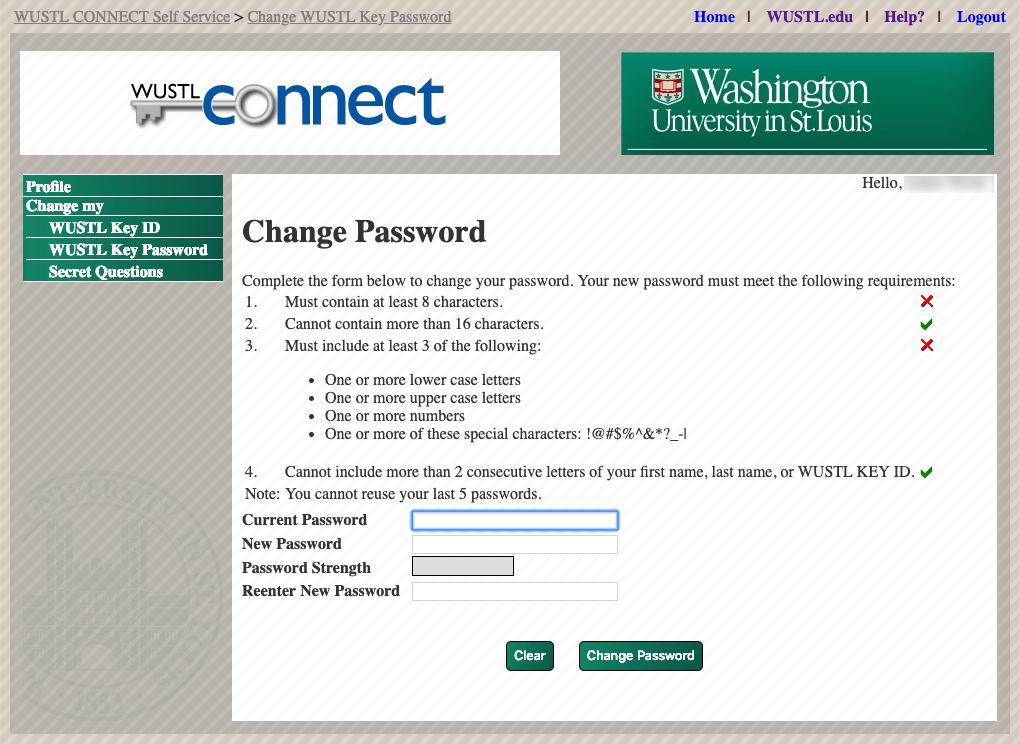 Change my WUSTL Key Password Screenshot 2