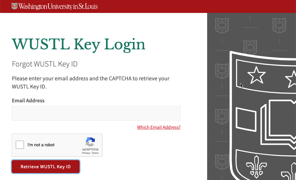 Forgot WUSTL Key ID Page
