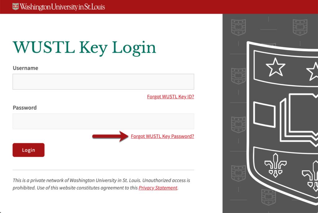 Forgot WUSTL Key Password