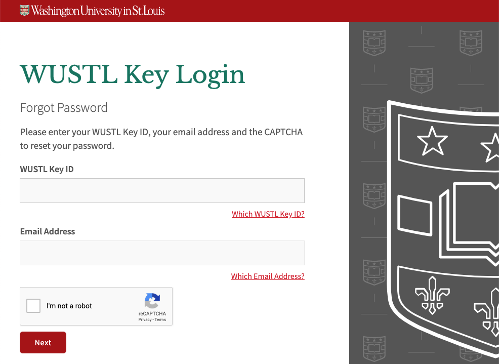 Forgot WUSTL Key Password Page