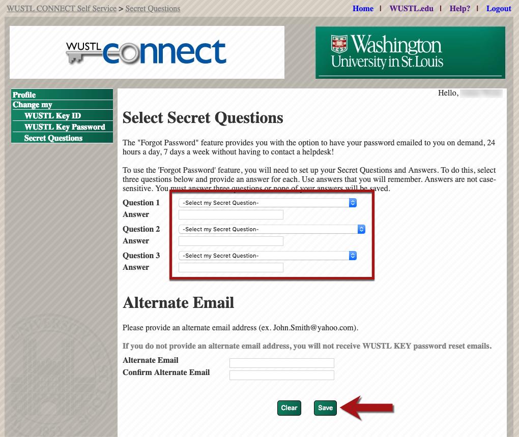 Create your WUSTL Key secret questions screenshot 2