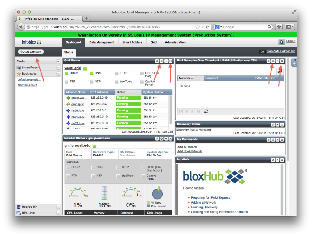 The Infoblox dashboard