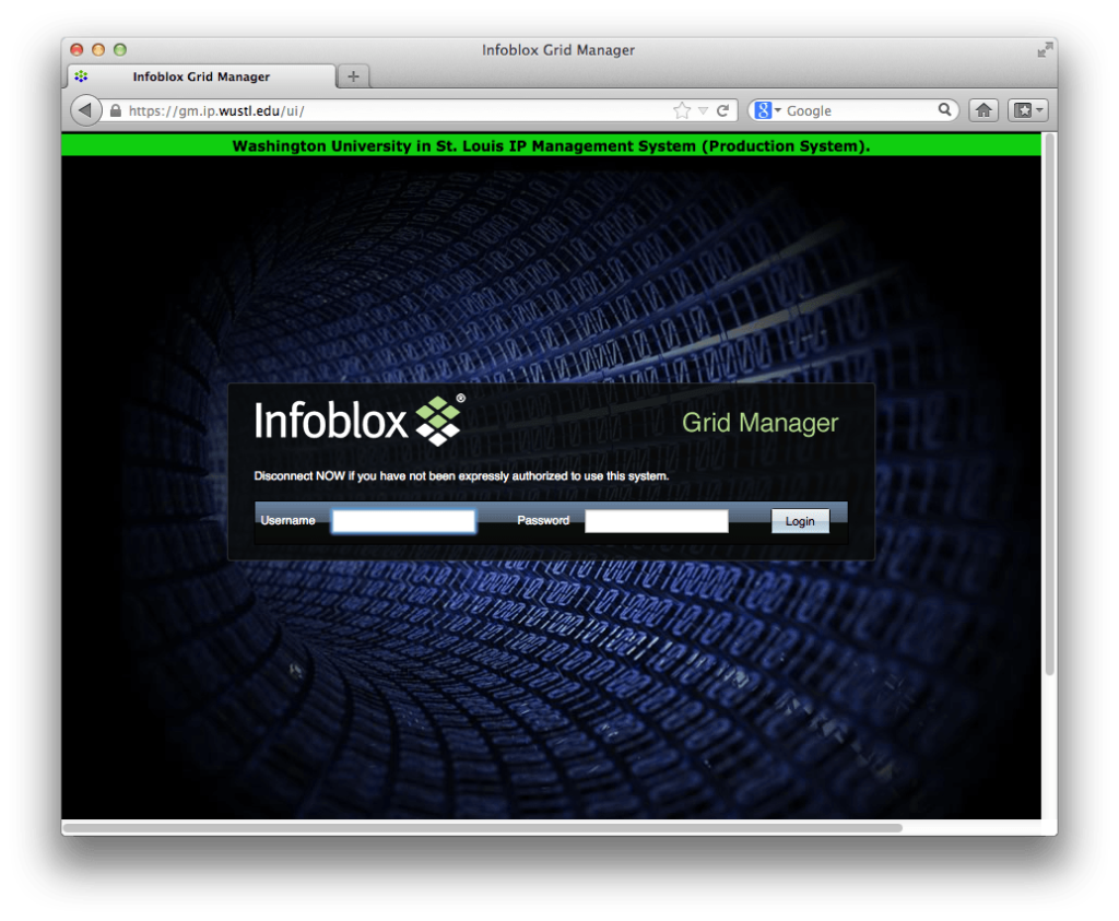 The Infoblox Grid Manager log in screen.